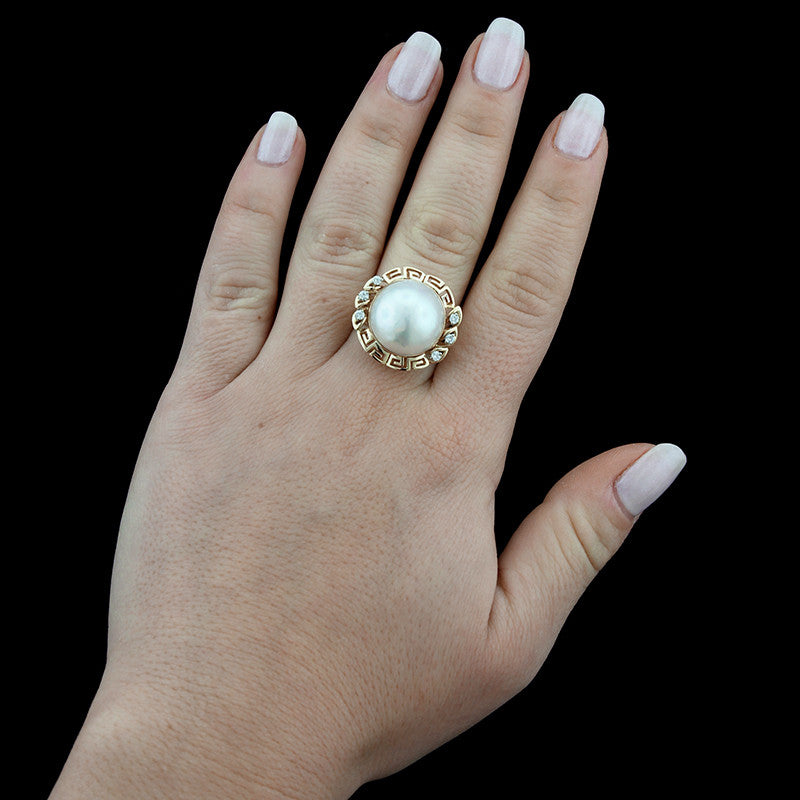 14K Yellow Gold Mabe Pearl and Diamond Ring