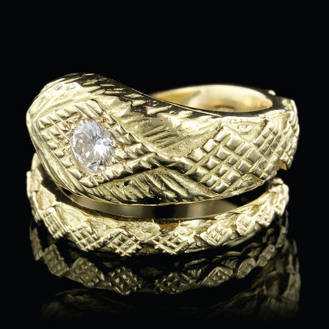 18K Yellow Gold Diamond Snake Ring