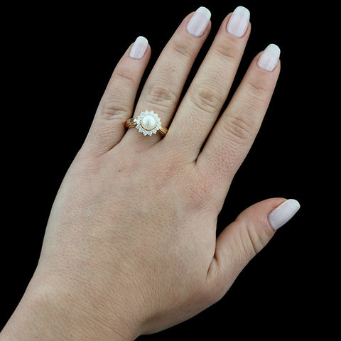 14K Yellow Gold Cultured Pearl and Diamond Ring