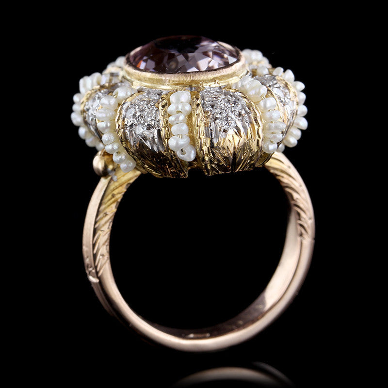 18K Two-tone Gold Pink Kunzite