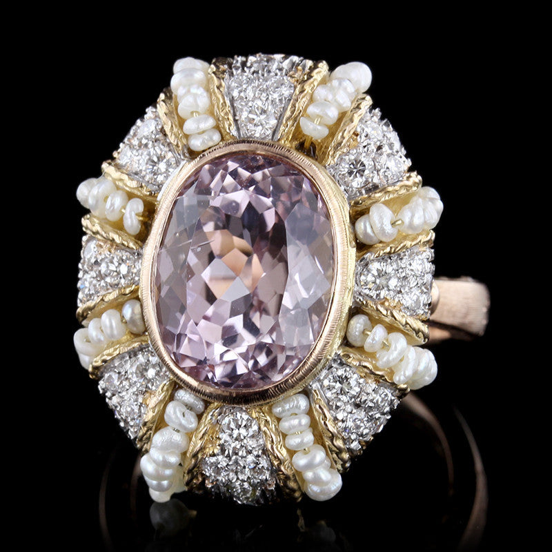 18K Two-tone Gold Pink Kunzite, Diamond and Freshwater Pearl Ring