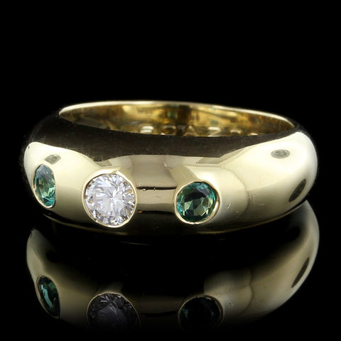 Cartier 18K Yellow Gold Emerald and Diamond Daphne Ring