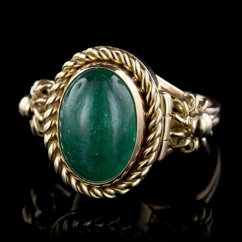 14K Yellow Gold Emerald Poison Ring