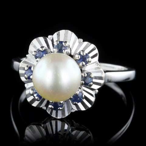 14K White Gold Cultured Pearl and Sapphire Ring