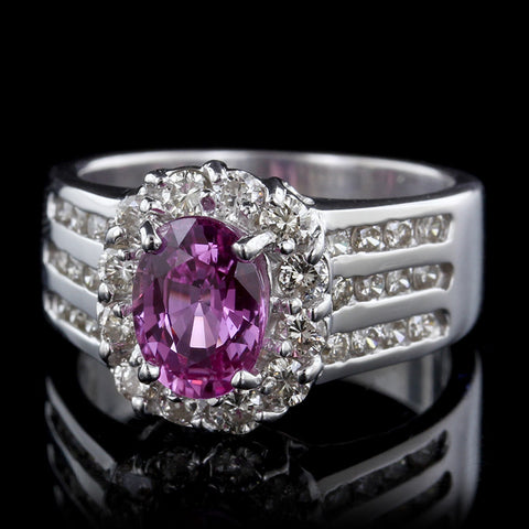 Le Vian 18K White Gold Pink Sapphire and Diamond Ring