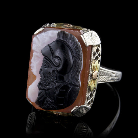 Vintage 14K Two Tone Gold and Hardstone Carved Cameo Ring
