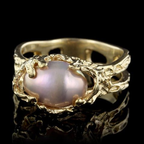 18K Yellow Gold Freshwater Pearl Ring