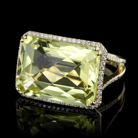 18K Yellow Gold Lemon Quartz Diamond Ring