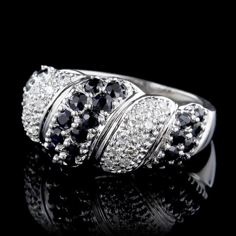 14K White Gold Estate Sapphire and Diamond Ring