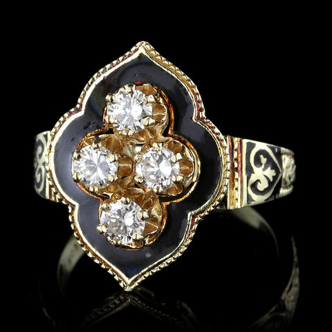 Vintage Style 14K Yellow Gold Diamond Enamel Ring
