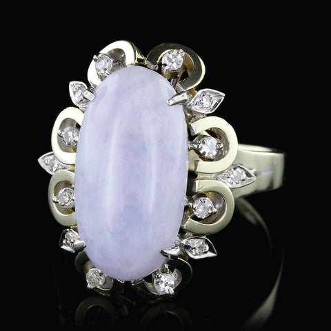 14K Yellow Gold Lavender Jadeite and Diamond Ring