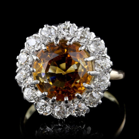 Vintage 18K Two-Tone Gold Citrine and Diamond Ring