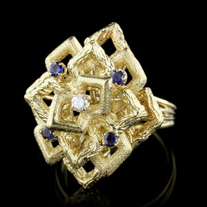 18K Yellow Gold Estate Sapphire and Diamond Ring