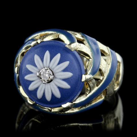 14K Yellow Gold Wedgewood and Enamel Ring