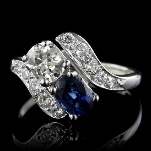 Vintage Platinum Sapphire and Diamond Bypass Ring