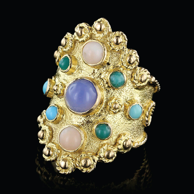18K Yellow Gold Estate Gem-Set Ring
