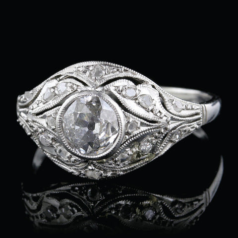 Edwardian 18K White Gold Diamond Ring