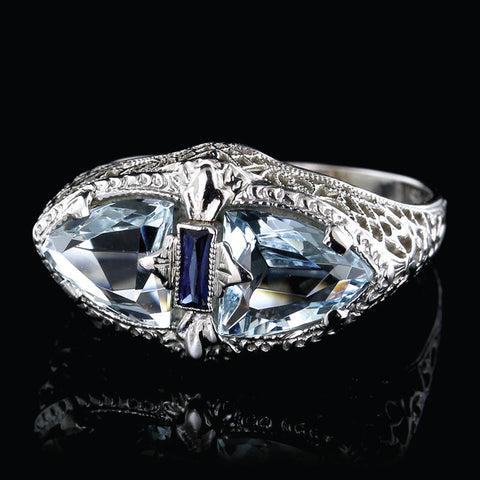 Vintage 14K White Gold Aquamarine Ring