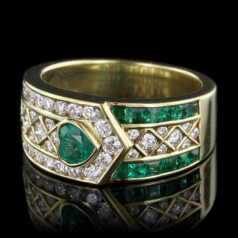 e938e3cab558 30 Day Money Back Guarantee. Leo Pizzo 18K Yellow Gold Emerald and Diamond  Ring ...