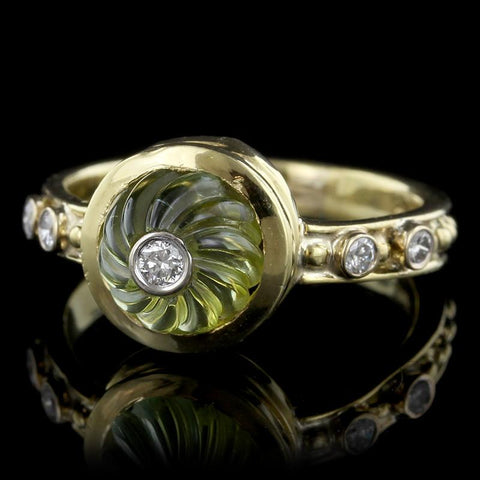 18K Yellow Gold Carved Green Tourmaline and Diamond Ring
