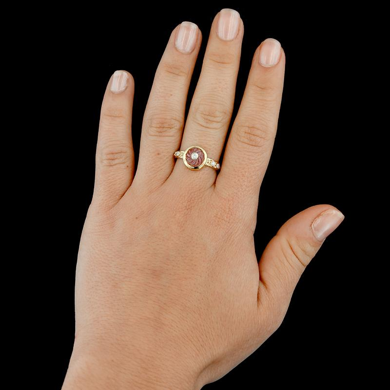 18K Yellow Gold Carved Pink Toumaline and Diamond Ring