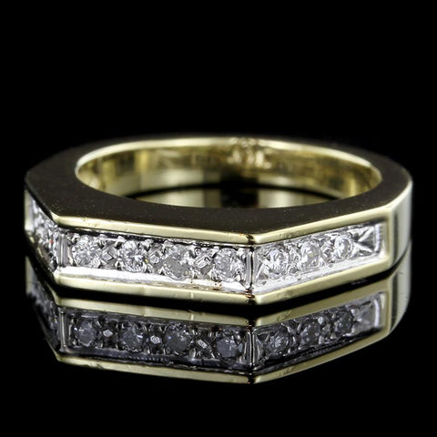 18K Two-Tone Gold Estate Prong Set Diamond Ring