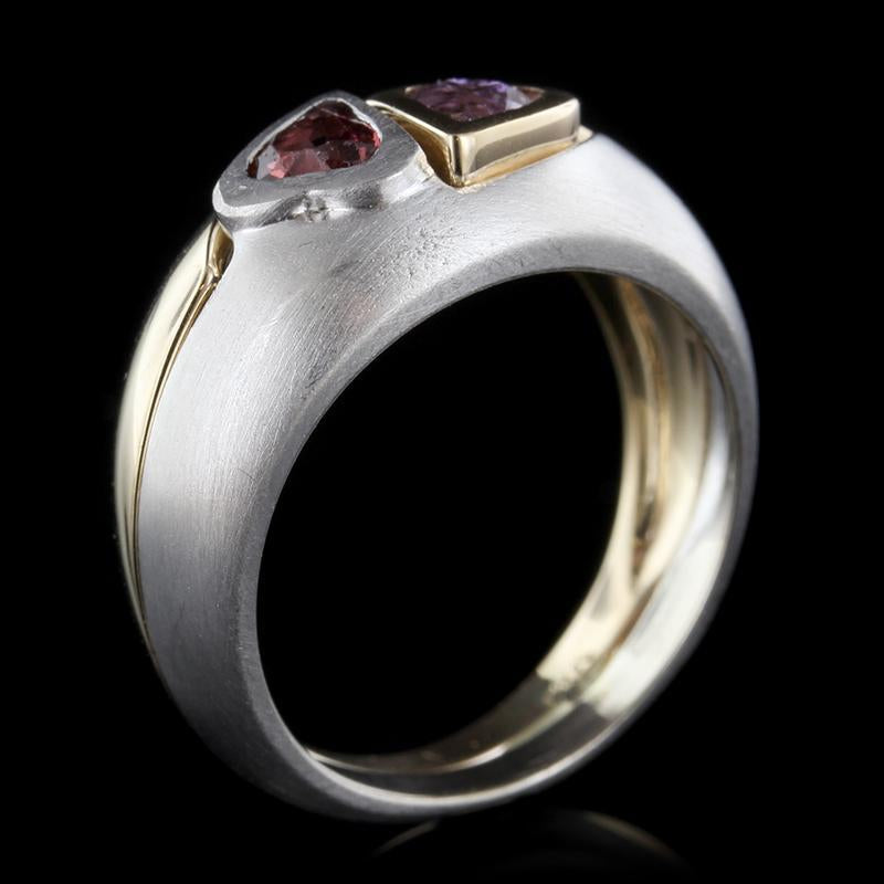 14K Two-Tone Gold Estate Amethyst and Garnet Ring