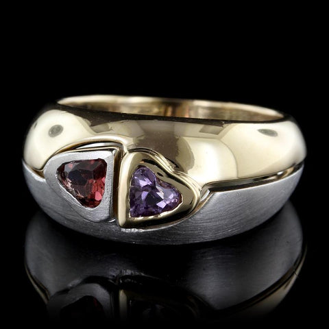 14K Two-Tone Gold Amethyst and Garnet Ring