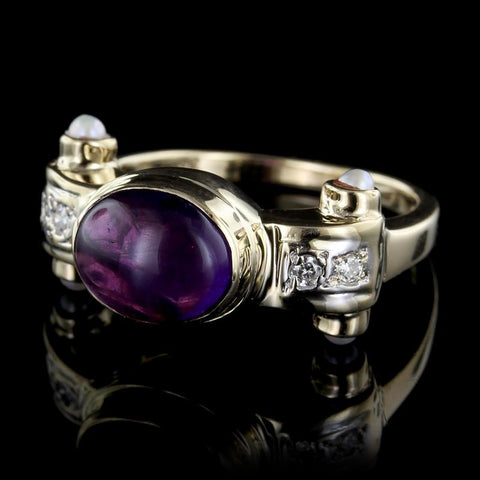 14K Yellow Gold Amethyst, Diamond and Pearl Ring