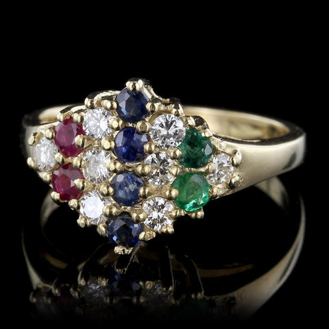 14K Yellow Gold Diamond, Sapphire, Emerald and Ruby Ring