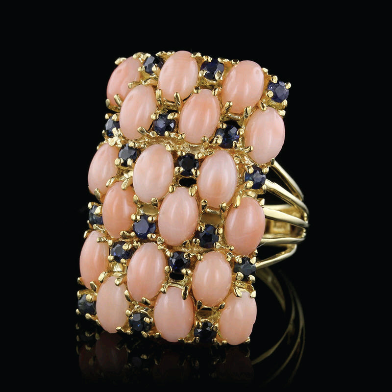 18K Yellow Gold Coral and Sapphire Ring