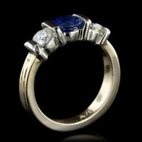 14K Two-Tone Gold Estate Sapphire and Diamond Three Stone Ring