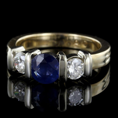 14K Two-Tone Gold Sapphire and Diamond Three Stone Ring