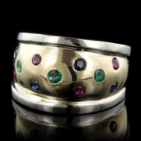 14K Two-Tone Gold Estate Emerald, Ruby and Sapphire Ring