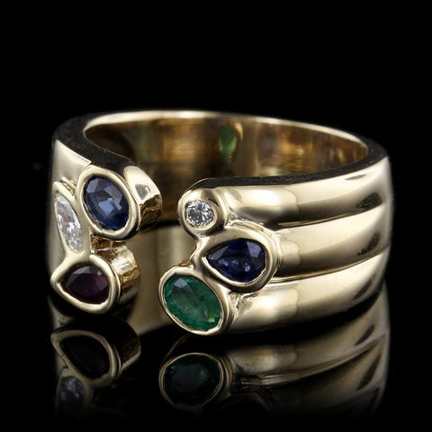 14K Yellow Gold Emerald, Ruby, Sapphire and Diamond Ring
