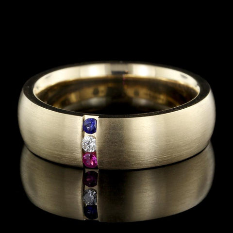 14K Yellow Gold Estate Ruby, Sapphire and Diamond Band