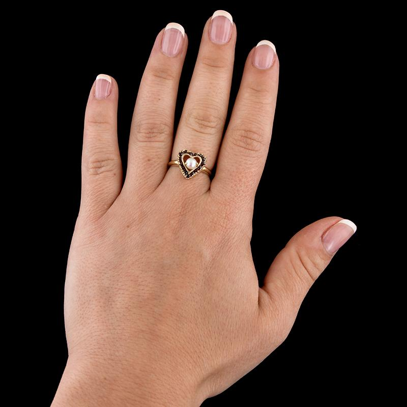 14K Yellow Gold Cultured Pearl and Garnet Heart Ring