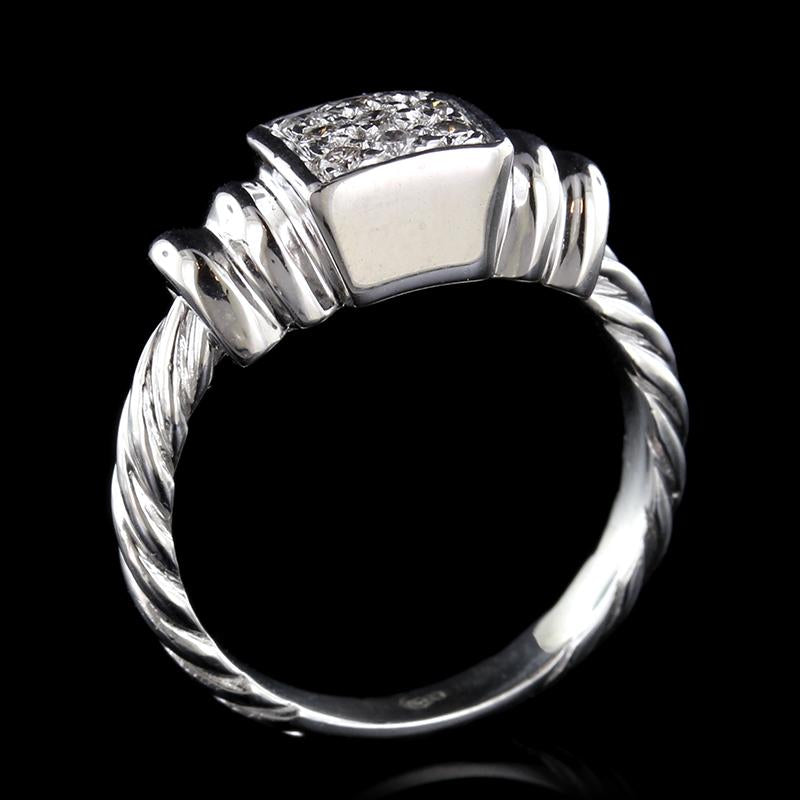 14K White Gold Pave Diamond Ring