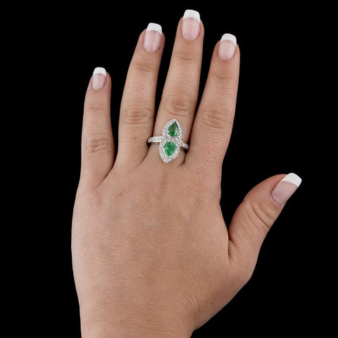 14K White Gold Tsavorite and Diamond Ring