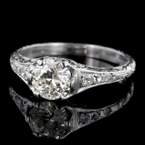 Vintage Style Platinum Diamond Engagement Ring