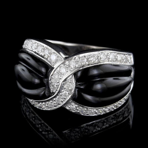 14K White Gold Estate Onyx and Diamond Ring