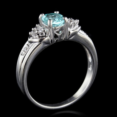 18K White Gold Paraiba Tourmaline and Diamond Ring