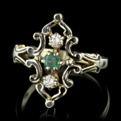 Vintage Style 14K Yellow Gold Emerald, Diamond and Enamel Ring