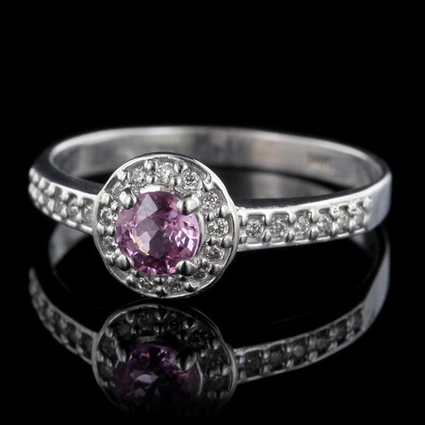 14K White Gold Pink Sapphire and Diamond Halo Ring