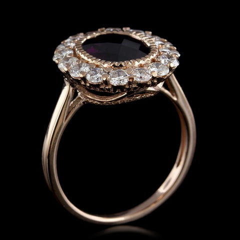 14K Rose Gold Garnet and Diamond Ring