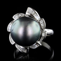 18K White Gold Estate Cultured Tahitian Pearl and Diamond Ring