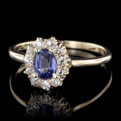 Antique 14K Yellow Gold Sapphire and Diamond Ring