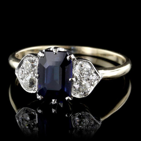 Vintage 14K Yellow Gold Sapphire and Diamond Ring