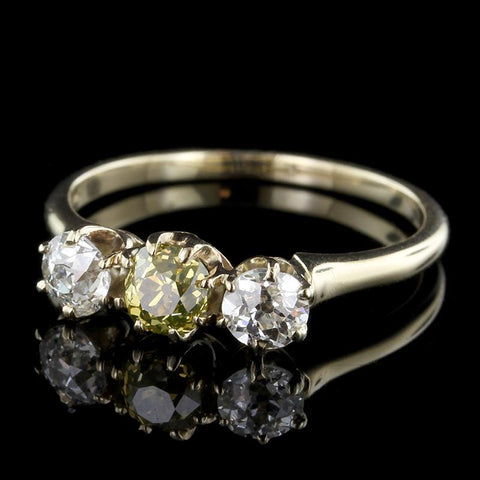 Antique 14K Yellow Gold Fancy Brownish Yellow Diamond Ring