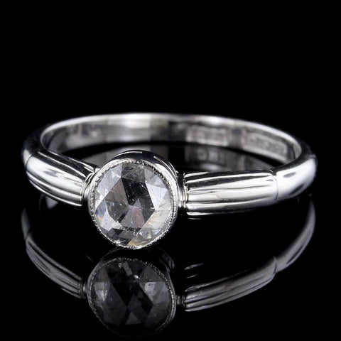 Vintage S. Blackensee & Son 18K White Gold Rose Cut Diamond Ring
